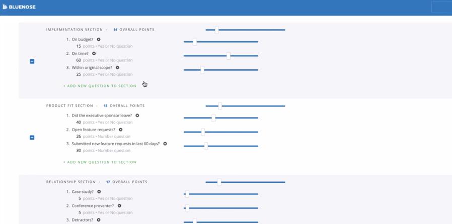 Bluenose slider view from product demo screenshot