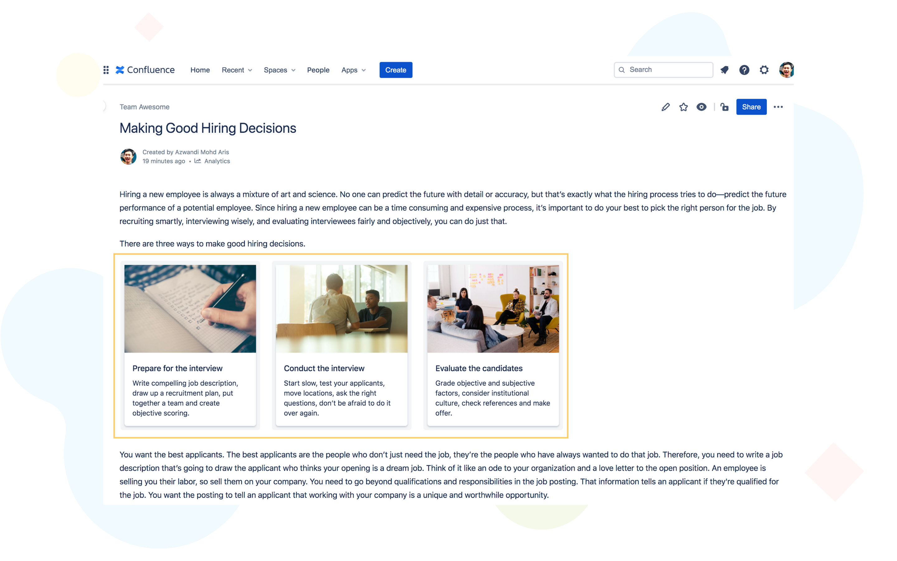 Customize confluence page