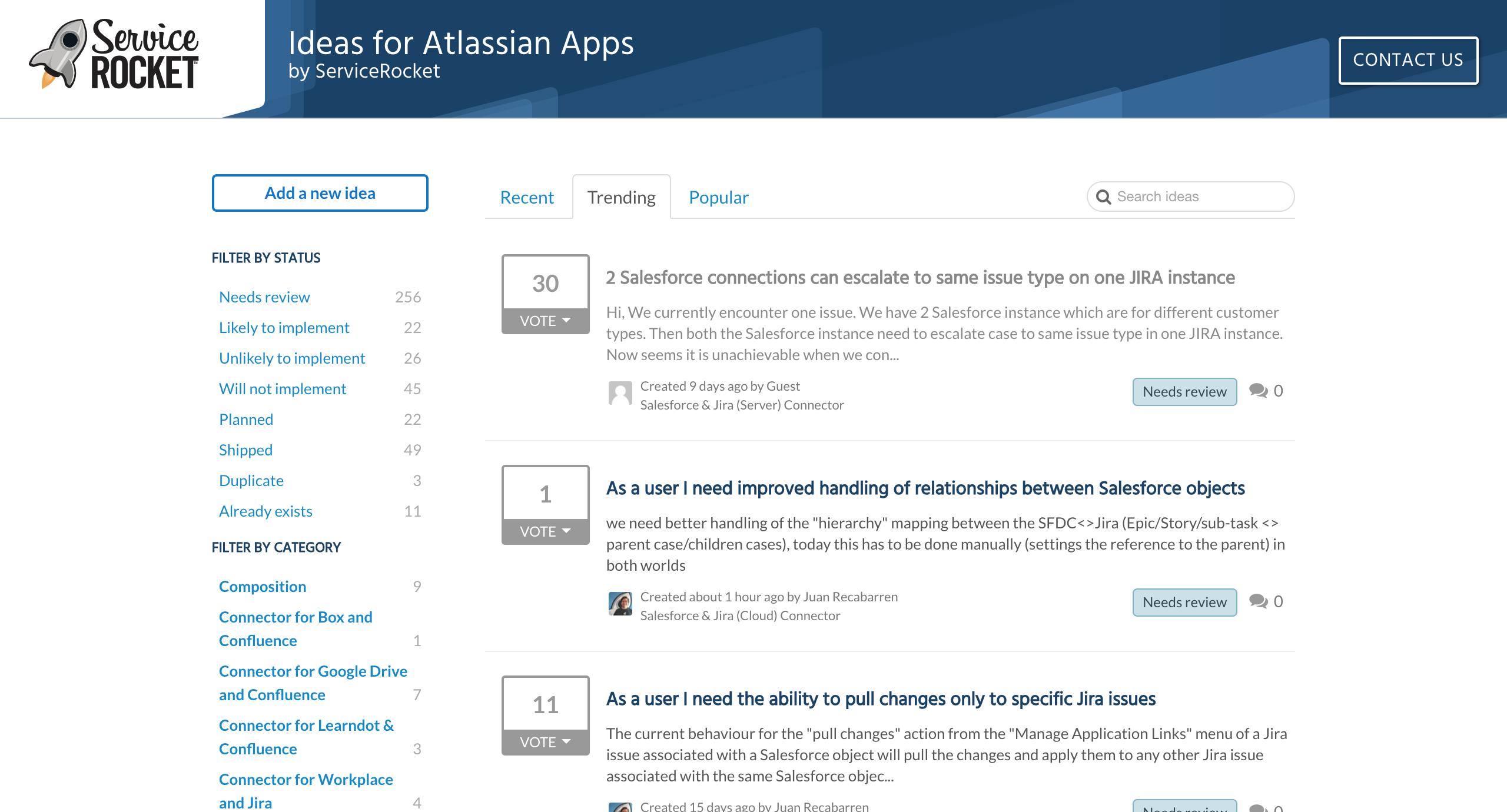 Visit: https://ideas.atlassian.servicerocket.com/ideas