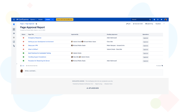 page approval for confluence