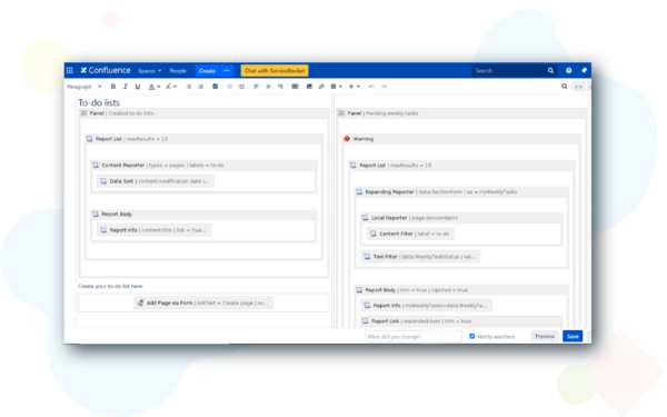 create Team Dashboard in Confluence with scaffolding templates