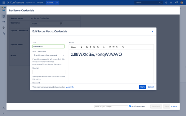 manage passwords in confluence