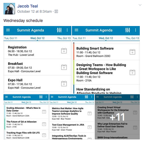 Jacob Teal posting Atlassian Summit Schedule on Workplace by Facebook